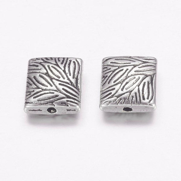 2 Pair (4pcs) , 10mmx9mmx4mm, Lead Free and Cadmium Free Antique Silver Tibetan Style Square Link