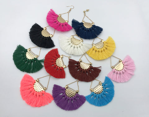 1pair (2pcs) , 5cm Semi-Circle Cotton Fan Tassel - Choose your colour