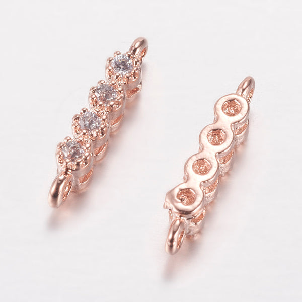 1pc, 2x11x3mm, Brass Micro Pave Cubic Zirconia Links, Cadmium Free & Lead Free, Strip, Rose Gold