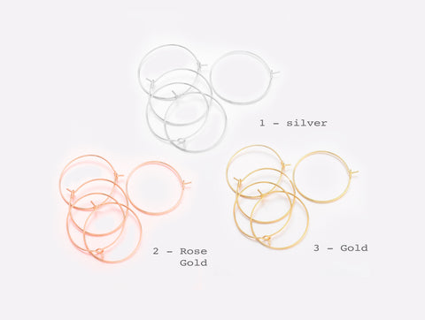 5 pairs (10pcs),  25mm,  Silver Plated Brass Earring Hoops