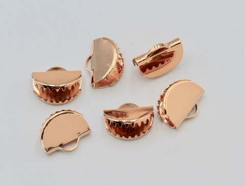 4pcs, 15x12.5mm, Small Rose Gold Plated Brass Ribbon// Semi Circle Crimp End with Loop // Crimp Findings in Rose Gold