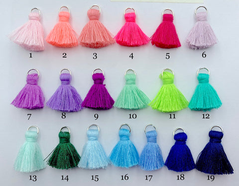 2pcs/4pcs/10pcs, 2cm Cotton Tassel in Silver jump ring II - Choose Your Colour