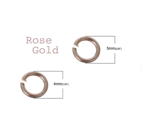 50pcs/100pcs, 4mm/5mm, Iron Based Alloy Open Jump Ring Findings in Rose Gold