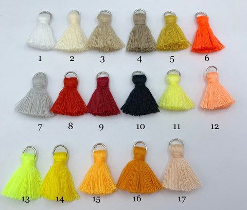2pcs/4pcs/10pcs, 2cm Cotton Tassel in Silver jump ring III - Choose Your Colour