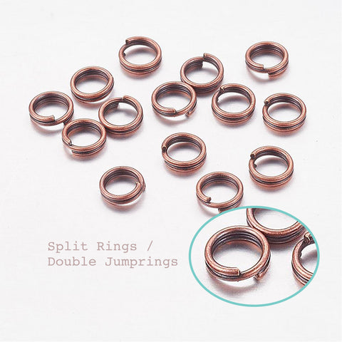 20pcs/50pcs/100pcs, 5x0.7mm, Iron Double Loops Jump Rings Split Rings, in Red Copper