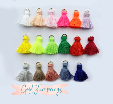 2pcs/4pcs/10pcs, 2cm Cotton Tassel in Gold jump ring II - Choose Your Colour