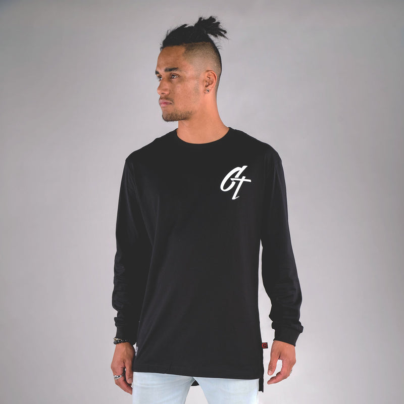 ICONIC LONG SLEEVE TAIL TEE BLACK