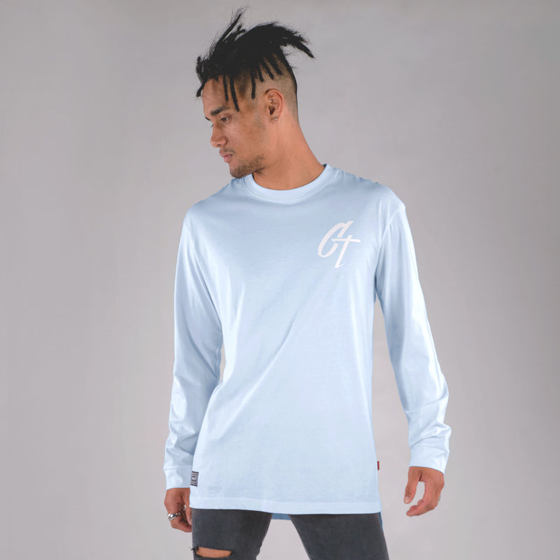 ICONIC LONG SLEEVE TAIL TEE BLUE