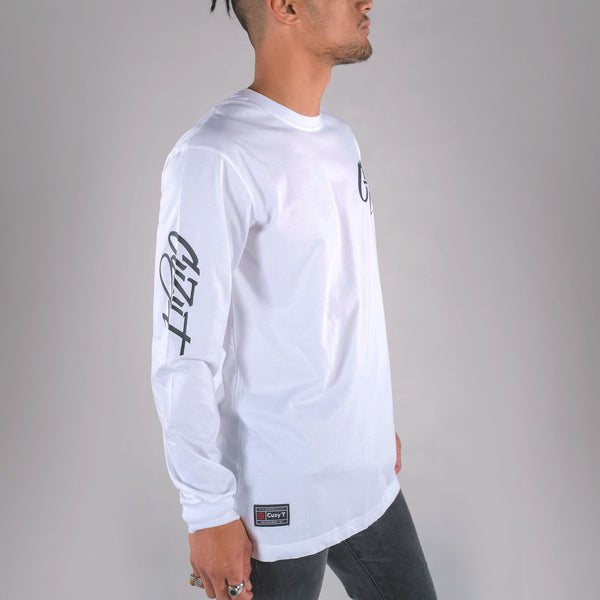 ICONIC LONG SLEEVE TAIL TEE WHITE