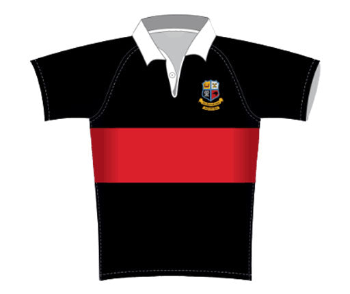 Hato Petera 1st and 2nd XV Rugby Jersey Black with Red Band SHIPPING INCLUDE!