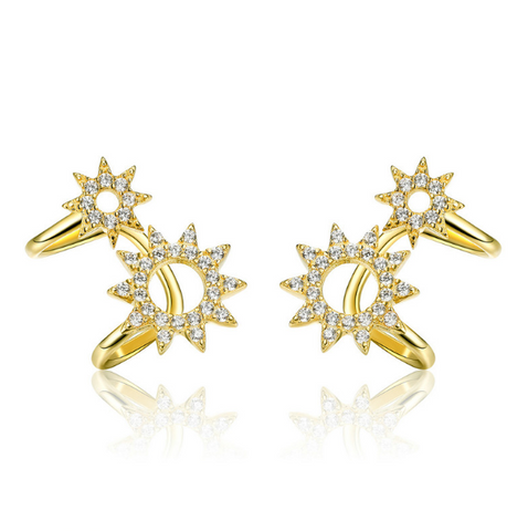 Golden Aelius Earrings (sbE492-SS)