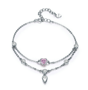 Diamond heart and pebble double layer Bracelet (sbB090) 8""
