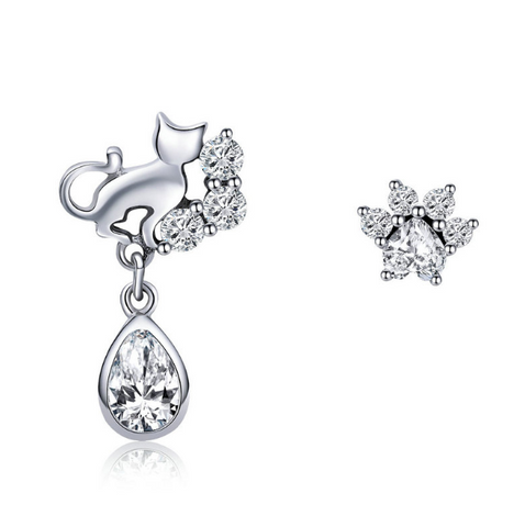 Cat Silhouette en' Orton stud Earrings (sbE424)