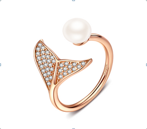 Mermaid Pearl Adjustable Ring (SBR286-C-SS)