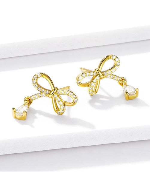 Gold Bowknot Earrings (BSE278)