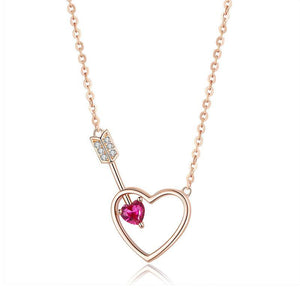 Cupid Arrow Garnet Gem Rosegold Necklace (SBSN059)