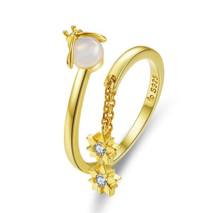 Ladybug in a Flower MoonStone Ring  (SBSR036)