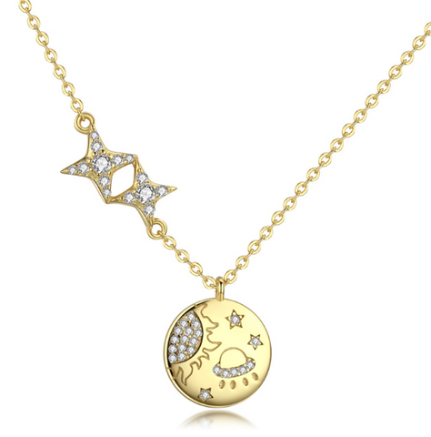Milky Way Glaxy Necklace  (SBN281-SS)