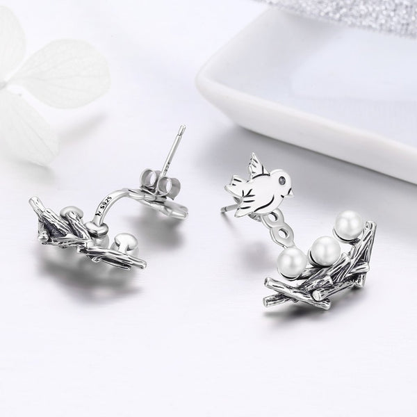 2-in-1 Fly High Stud and Dangle Two-way Earrings (SBE337-SS)