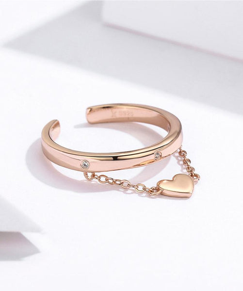 Stackable Diamond Band with Heart Dangling Rose Gold Ring (SBR572)