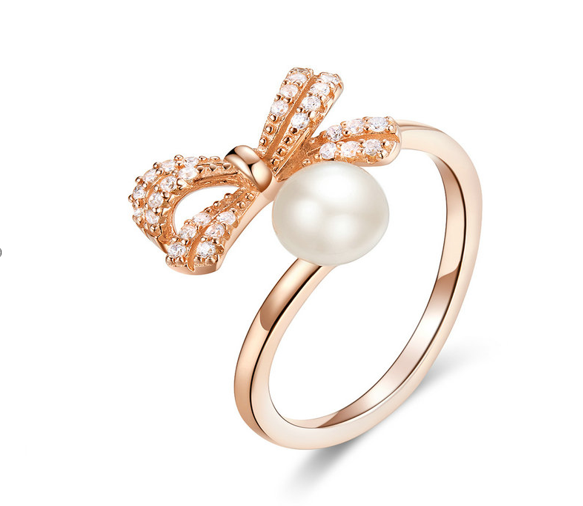 Ribbon Pearl Rose Gold Ring (SBR552)
