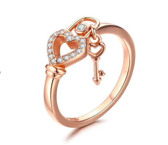 Love Lock Key Rose Gold Ring (SBR501-SS)