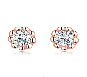 Basic round rose gold earrings (SBSE219)