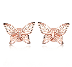 Rose gold butterfly stud earrings (SBE452-C-SS)