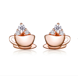 Coffee with me earrings (SBE592-SS)