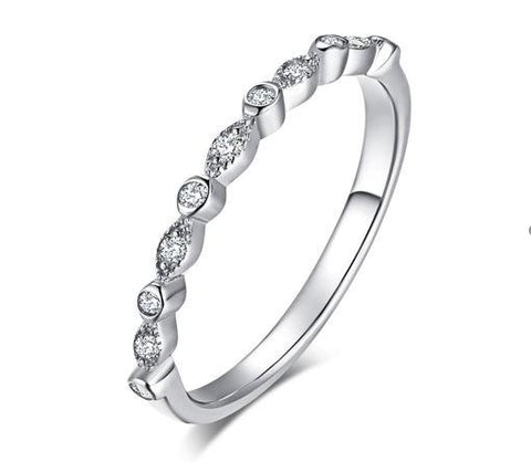 Sterling Silver Cubic Zirconia Ring (SBR084-6)