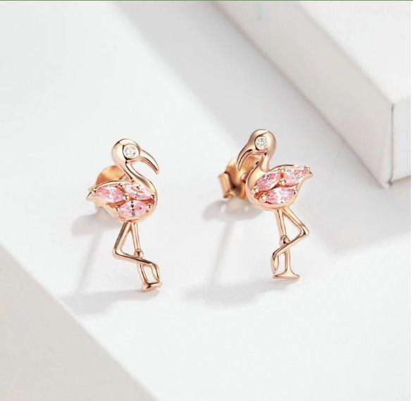Flamingo with Pink Diamond Earrings (SBSE120)