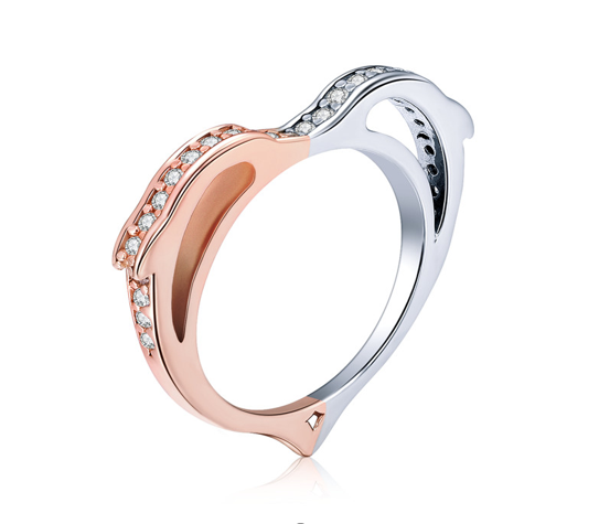 Sterling Silver Dolphin Love Ring (SBR418-6)