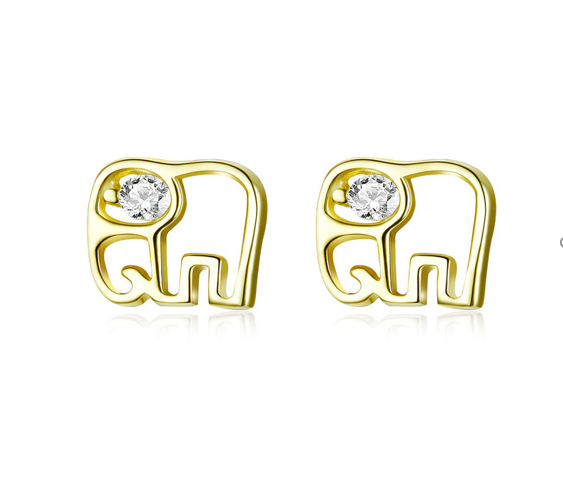 A Gold Elephant Line Earrings (SBE661-GD-SS)