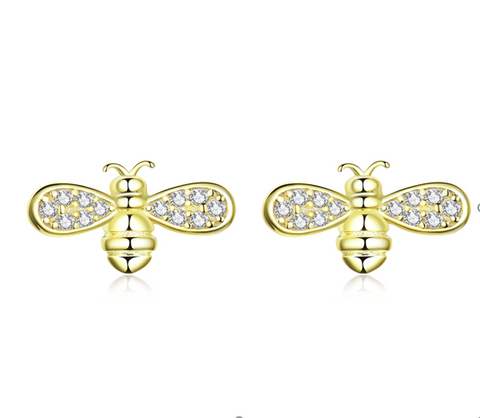 Golden Queen Bee Stud Earrings (SBE669-SS)