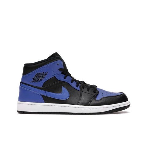 Air Jordan 1 Retro Mid Black Royal Tumbled Leather Men's
