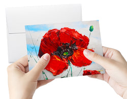 Poppy Brilliance (5-pack) Art Greeting Cards, FREE Shipping