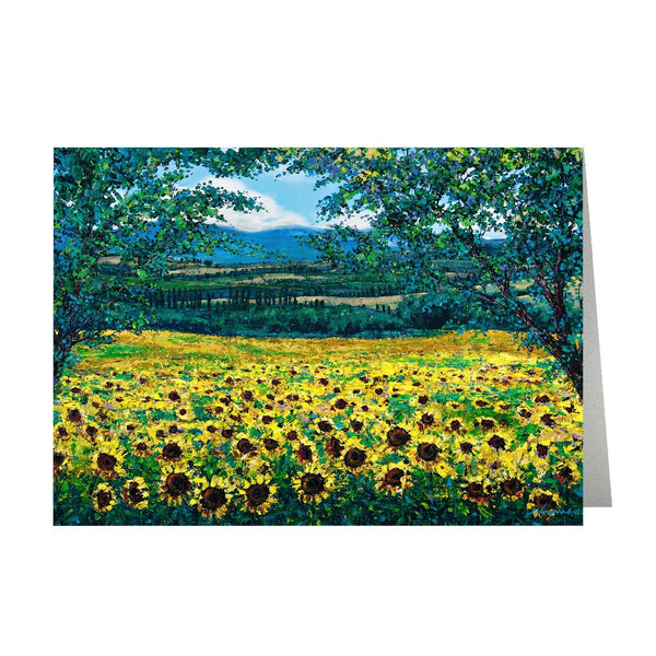 Sunflowers in Tuscany (5-pack) Art Greeting Cards, FREE Shipping