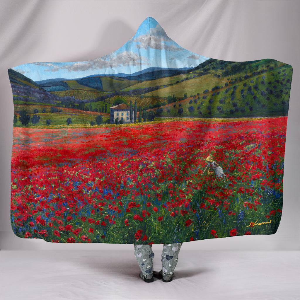 Poppy Paradise - Hooded Blanket by Jennifer Vranes