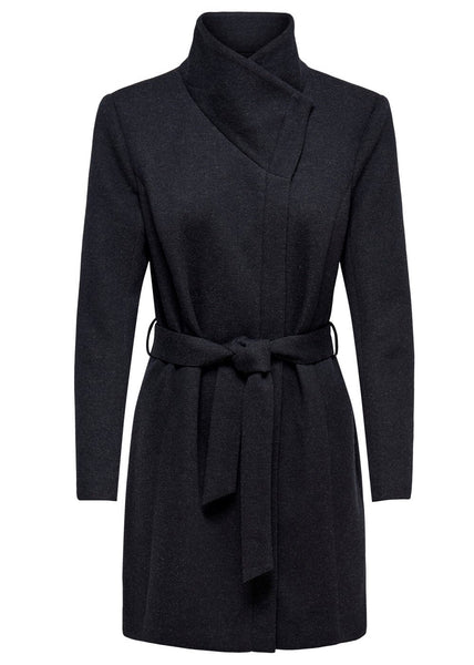 NAVY COLLAR WRAP JACKET