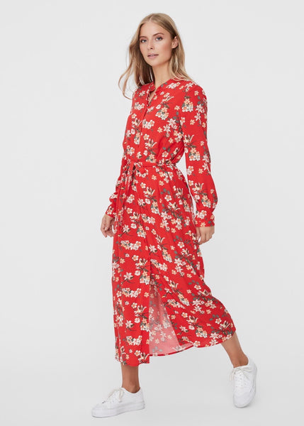 RED FLORAL MIDI SHIRT DRESS