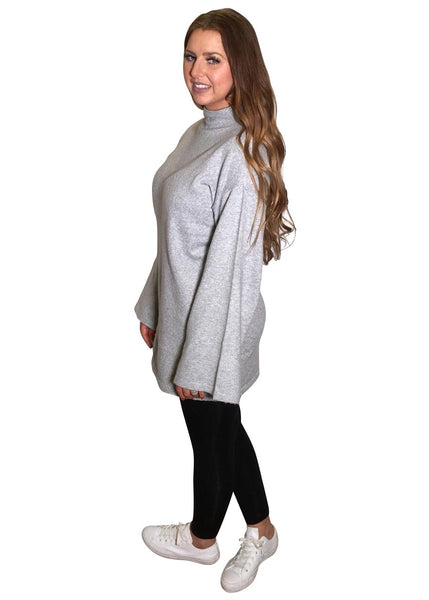 GREY FUNNEL NECK KNIT