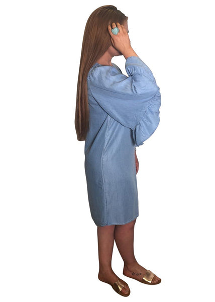 DENIM FLARED SLEEVE DRESS