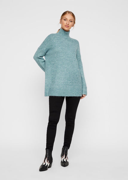 GREEN ROLL NECK KNIT