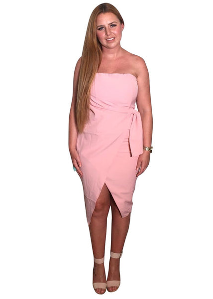 PINK STRAPLESS WRAP DRESS
