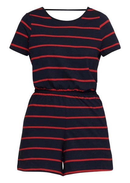 NAVY & RED STRIPE PLAYSUIT