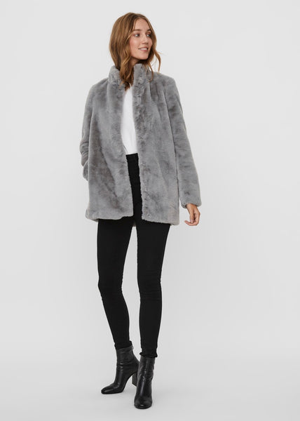 GREY FAUX FUR COAT