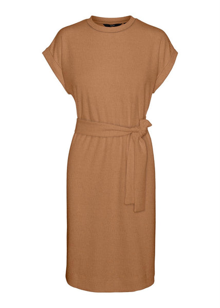 TAN TIE BELT DRESS