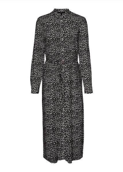 LEOPARD MIDI SHIRT DRESS