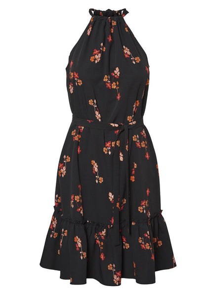BLACK FLORAL HALTERNECK DRESS