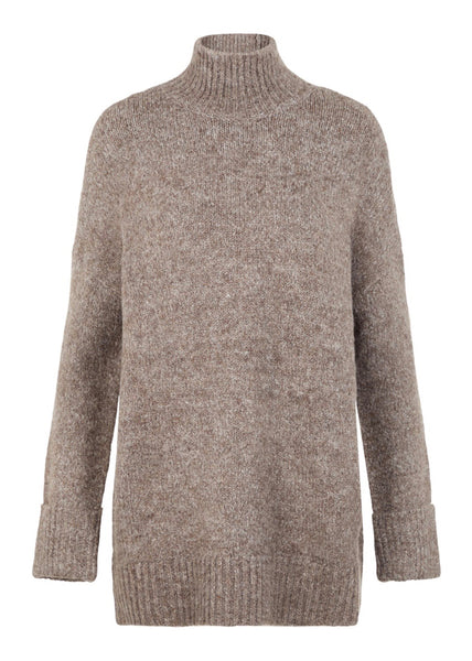 TAN ROLL NECK KNIT